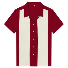 3541bf6b8 designing shirts online Coupons - Online Men Clothes Rock Cotton Marron  Ivory Vintage Design Rockabilly High