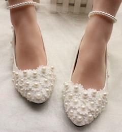 El más nuevo estilo de encaje de perlas zapatos planos de vestir de la princesa zapatos de moda del partido de noche nupcial zapatos de boda shuoshuo6588 desde fabricantes