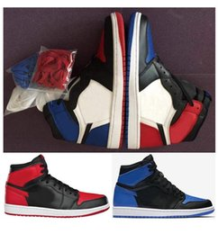 Wholesale Boxing Shoe - High Quality 1s Top 3 Bred Royal All Star Men Basketball Shoes 1 Top 3 OG Away Mandarin Duck Sneakers With Shoes Box