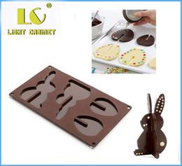 2019 chocolate com chocolate de silicone LC 3D silicone molde do bolo de chocolate molde de sílica gel coelhos ovos de páscoa chocolate com chocolate de silicone barato