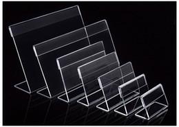 Divers taille plus petite T1.3mm Acrylique Clair En Plastique Signe Affichage Papier Étiquette Carte Étiquette De Prix Titulaire L En Forme De Stand Horizontal Sur Table 50 pcs ? partir de fabricateur