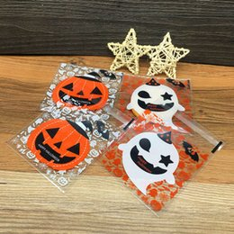 Wholesale Halloween Candy Cookies - 100Pcs Plastic Clear DIY Candy Cookies Bag Halloween Yellow pumpkin Gifts Bags Birthday Party Craft Bags Packaging