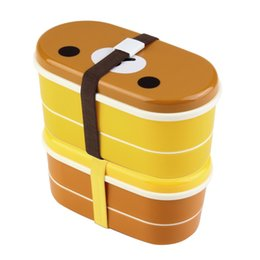 All'ingrosso-1set Rilakkuma carino Bento Box doppio strato 16,5 * 8,5 * 8,5 centimetri di plastica Lunch Box con le bacchette Forno a microonde disponibile più recente Hot supplier wholesale bento lunch boxes da scatole da pranzo di bento all'ingrosso fornitori