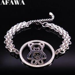 braceleiras de ursinho de aço inoxidável Desconto 2018 Moda Urso de Cristal De Aço Inoxidável Charm Bracelet Mulheres Cor Prata Pulseiras Pulseiras Jóias pulceras para mujer B18173
