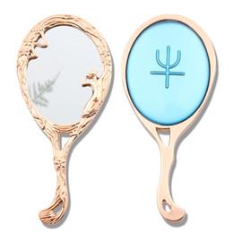 2020 miroir de lune Sailor Moon Maquillage Main Vanity Mirror Princesse Mini Maquillage Bleu Cristal Miroir Symbole Maquillage Main Cadeau avec Sac Rose miroir de lune pas cher