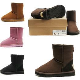 Botas clásicas de cuero negro online-Botas de nieve clásicas para niños pequeños Australia 5281 niños WARM Boot Chestnut BLACK COFFEE Forrado de cuero de piel de oveja