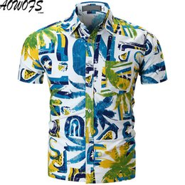 Argentina 2018 para hombre camisa hawaiana masculina casual camisa masculina impresa playeras de manga corta marca de ropa de verano tamaño M-XXL cheap hawaiian beach clothes Suministro