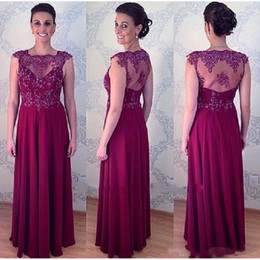 Wholesale Mae Noiva - Burgundy Sheer Mother Of The Bride Dresses Floor Length 2018 Women Groom Evening Party Gowns Vestido Para Mae Da Noiva