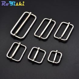 Wholesale Slide Slider - 50pcs lot Silver Metal Slides Tri-Glides Wire-Formed Roller Pin Buckles Strap Slider Adjuster Buckles
