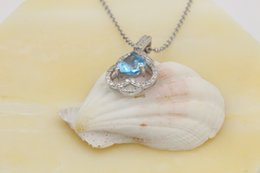 Wholesale Aquamarine Pendants Sterling Silver - 2017 new pendant natural Aquamarine 18K Gold and inlaid with Diamond multicolored Ocean Star clavice Necklace