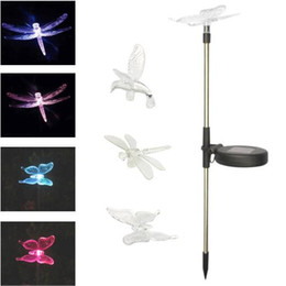 Wholesale Solar Dragonfly Lights - Solar Lawn Light Color Changed Hummingbird Butterfly Dragonfly Solar Powered Lights Outdoor Garden Lights for Patio Yard Light CCA8909 30pcs