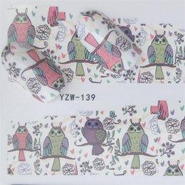 2019 decalcomanie di arte del chiodo Nail Sticker Water Decals Lovely Owl Cat Nails Slider Art design Decorazione Manicure Foil Adesivo avvolge Strumenti Polacco Pegatinas sconti decalcomanie di arte del chiodo