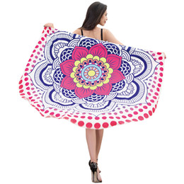 Wholesale Beach Towel White Orange - Hot Fashion 2018 new European style round beach towel Holiday shawl wrap skirt yoga mat bathrobe skirt Free Shipping