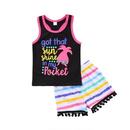 3a47fd0f4cfe 2018 New Kids Clothing Summer Baby Girl Clothes Sleeveless T Shirt Tank Top  +Rainbow Striped Tassel Shorts 2PCS Children Girls Outfits Set