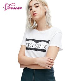 7a0f33daecb8 2019 femme t-shirt noir bon marché Versear Summer Women Basic T-Shirt Lettre