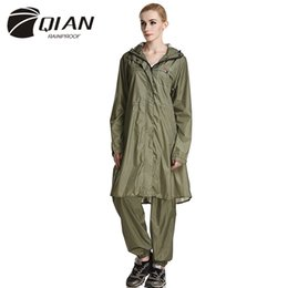 Wholesale trench coat waterproof woman - QIAN RAINPROOF Impermeable Raincoat Women Waterproof Trench Coat Poncho Super-light Rain Coat Women Rainwear Rain Gear Poncho