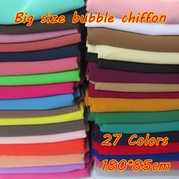 chiffon hijab schals Rabatt 180 * 85 cm Große Größe Hochwertigen Bubble Chiffon Frauen Moslemisches Hijab Schal Schal Wrap Einfarbig Farben 10 teile / los