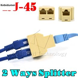 Wholesale Two Way Adapter - Newest Portable RJ45 Two Way Splitter Connector CAT5 CAT6 LAN Ethernet Splitter Adapter 8P8C Network modular plug for PC laptop