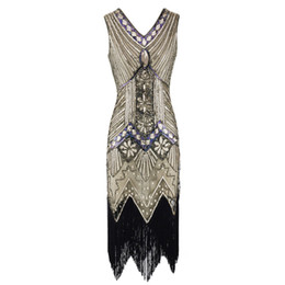 Vintage 1920s Flapper Great Gatsby Dress 2018 Summer Fancy Costumes V-Neck  Cap Sleeve Sequin Fringe Party Midi Dresses 05bfff9a5d27