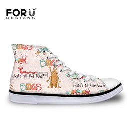 Wholesale Cute Silver Flats - FORUDESIGNS Autumn Women's Vulcanized Shoes Cute Animal Pattern Women High Top Casual Canvas Shoes for Woman Lace-up Flats Shoe