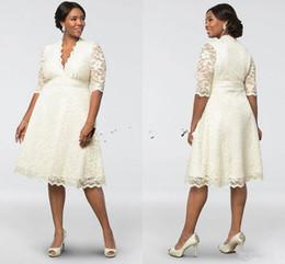 Wholesale Belle Pink - 2018 Elegant Cheap Belle Deep V-neck Short Lace Applique Wedding Dresses Half Sleeves Knee-length Plus Size Bridal Wedding Gown Custom Made