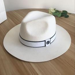 Grandi cappelli eleganti online-Cappello a tesa larga in lana bianca con cappello a tesa larga, socialite, elegante retro femminile, joker, per fedora