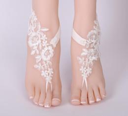 kylie mini kit lèvre Promotion Nouveau femmes dentelle floral cheville pied chaîne sandales pieds nus cheville broderie fleur mariée mariage accessoire de bal pied bijoux