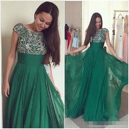 Rebordear vestido de fiesta verde esmeralda online-Vestidos de fiesta largos de color verde esmeralda vintage 2019 Vestido de fiesta de gasa con abalorios transparentes Vestido de noche formal de las mujeres