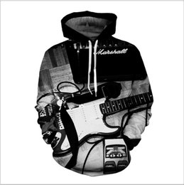 Wholesale Guitar Long Sleeve - 2017 autumn new men's guitar print personalized men's hooded long-sleeved sweater