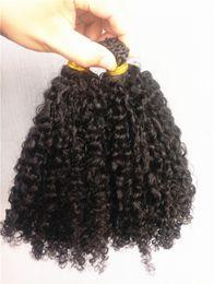 2019 cabelo ligado Chegam novas Brasileira Humano Encaracolado Kinky Pré-ligado Extensões de Cabelo Cor Preto Natral 1g / pc 100g um pacote