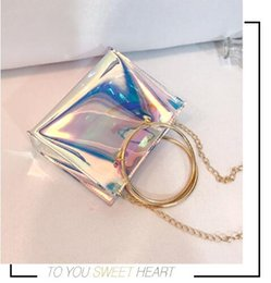 Wholesale Transparent Stones - Women Transparent Bag Clear Jelly Small Tote Messenger Bags Laser Holographic Shoulder Bags Female Lady Sac