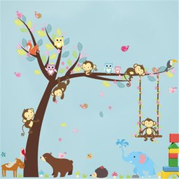 Wholesale Large Monkey Tree Wall Stickers - New Creative Forest Animals Tree Wall Stickers For Kids Room Monkey Bear Jungle Wild Children Wall Decal Bedroom Decor Poster Mural