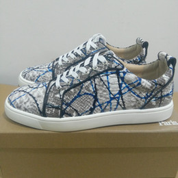 Wholesale Chocolate Footwear - Designer fashion shoes luxury python casual shoes low top flats red bottom leisure shoes unisex walking sneakers party time footwear