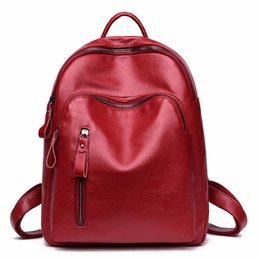 3800779a6acd 2018 Women Leather Backpacks Mochilas Rucksacks For Girls Female Back Pack  Ladies Preppy Style School Bags For Girl Famous Brand