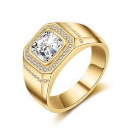 2019 große hochzeitsringe Luxus Herren Gold Hochzeit RING 925 Silber überzogen mit Big CZ Diamant Trauringe Kristall Schmuck für Männer günstig große hochzeitsringe