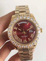 AAA Envío gratis relojes hombres marca de lujo Día-Fecha Cara roja reloj de diamantes hombres zafiro automático cierre original Mecánico Reloj de pulsera desde fabricantes