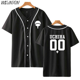 2019 camisetas de beisbol de diseño Nuevo diseño de anime Naruto camiseta de béisbol Chaqueta de béisbol de manga corta Uchiha Hatake Uzumaki Clan Badge Imprimir camisas Ropa Unisex camisetas de beisbol de diseño baratos