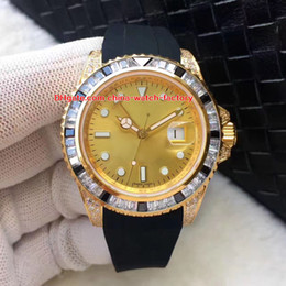 Wholesale rubber diamonds - 3 Color Luxury Top Quality Watch 40mm YachtMaster GMT 116758 SAru-78208 Colour Diamond Bezel 18k Rose Gold Mechanical Automatic Mens Watches