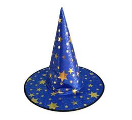 2018 Nuovo arrivo Cappello di Halloween Puntelli da palcoscenico per adulti per bambini Cappello da mago a cinque stelle Cappello da strega Diretto in fabbrica da