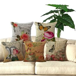 """Wholesale French Sofas - 18"""" Square Decorative sofa throw pillows French flowers printed garden cushion Chair seat cushion for retail"""