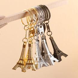 Wholesale universal vintage - 2018 Zakka Vintage Eiffel Tower Keychain Tower pendant key ring gifts Fashion Wholesales Gold Sliver Bronze