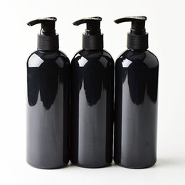 20шт 300мл Черные косметические ПЭТ-бутылки, пустой контейнер для шампуня и лосьона, пластиковая косметическая упаковка с дозатором, гель для душа от