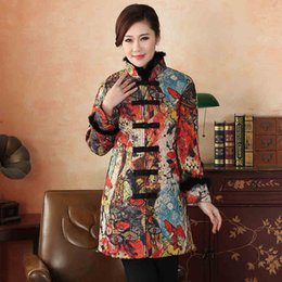 Wholesale tang suit women - Winter New Women's Cotton Wadded Jacket Print Floral Long Cotton-Padded Coat Vintage Chinese Tang Suit Tops M L XL XXL XXXL