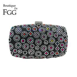 2019 bolsos de flores negro Boutique De FGG Hot Fixed Rhinestone Mujeres Black Flower Evening Bag Bolsos de moda Monederos Lady Wedding Nupcial Crystal Clutch bolsos de flores negro baratos