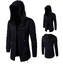 Männliches kap online-2018 Herbst dunkle Herrenbekleidung Herren mittellange Mantel Sorcerer's Cape Herren schwarze Kapuzenjacke große Größe