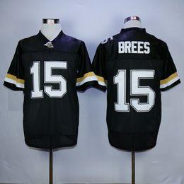 jerseys negros baratos del balompié Rebajas Hombres Purdue Boilermakers Drew Brees College camisetas de fútbol retro barato # 15 Drew Brees Inicio BLack University camisetas de fútbol