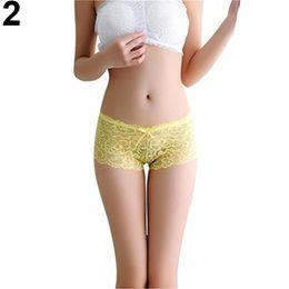 Wholesale See Through Brief Panties - Women Sexy Lace See Through Briefs Panties Bowknot Thongs Underwear Sleepwear
