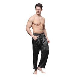 c2e027411e37e hommes pyjama Promotion TonyCandice Pyjama Pants Hommes Satin Soie Sleep  Bottoms Casual Pantalon Mâle Sleepwear Mens