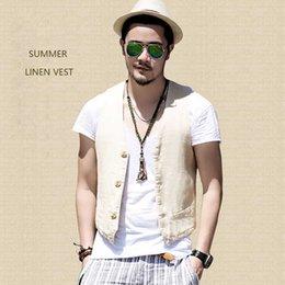 2019 maglia bianca Nuovo arrivo maglia di lino per l'estate maglia da uomo 3 bottoni sottili gilet casual uomini che dimagriscono vestito maschile abbigliamento maglia bianca economici