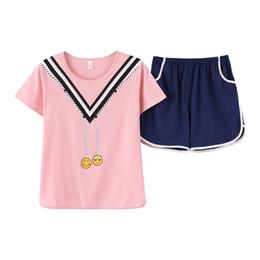 2018 Fashion Women Pajamas Cute cartoon print Sleepwear Two Pieces Set Short  Sleeve Tops+Shorts Casual Pajama Sets Pyjamas women d1298c5e4